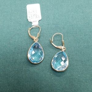 14kt pear shape blue topaz earrings